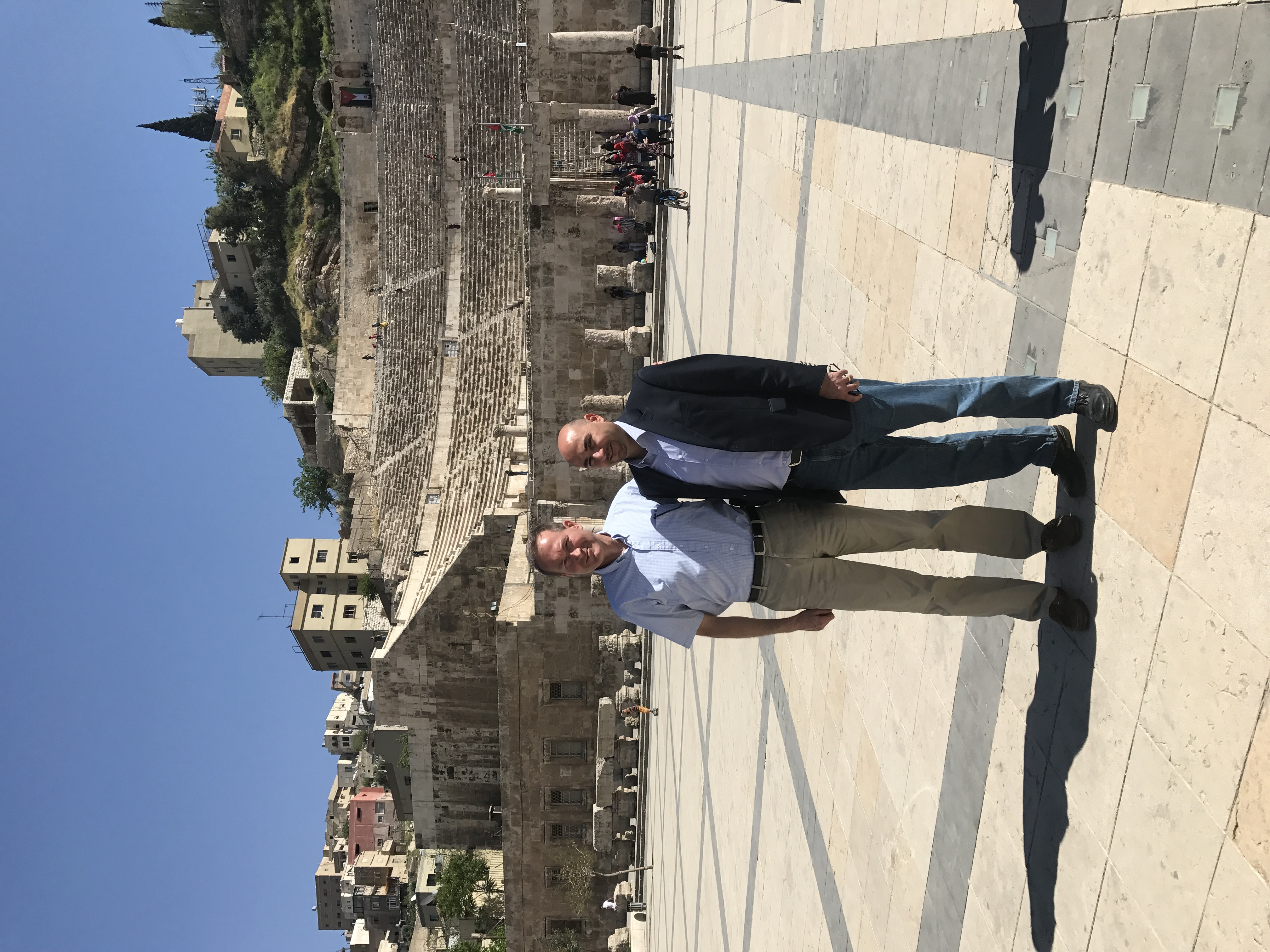 seasoned international business manager jordan on a business trip to jordan nate and one of his distributors visited ammans roman amphitheater - International Business Manager